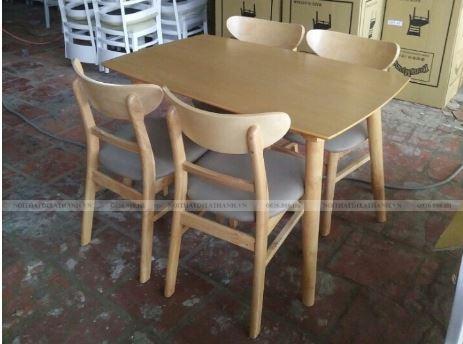 Bộ bàn ăn gỗ cao su 4 ghế giá rẻ
