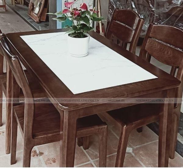Bộ bàn ăn gỗ sồi 4 ghế mặt đá trắng giá rẻ mã BA46BT4