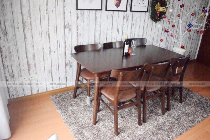 Bộ bàn ăn gỗ cao su giá rẻ 6 ghế mặt ghế bọc da mã BA41BT6