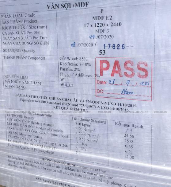 Giấy kiểm định lô hàng MDF xuất khẩu Made in Vietnam