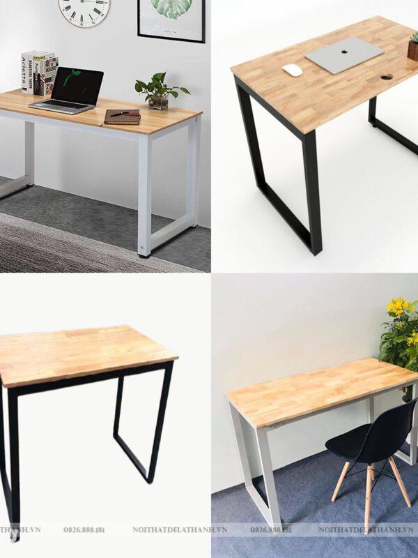 Bàn học - bàn làm việc chân sắt chữ U (mặt bàn gỗ cao su) giá rẻ